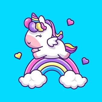 Illustrazione sveglia dell'icona dell'arcobaleno dell'unicorno. personaggio dei cartoni animati della mascotte unicorno. icona animale concetto isolato