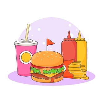 Illustrazione sveglia dell'icona della bevanda analcolica, dell'hamburger, delle patatine fritte e della salsa. concetto dell'icona di fast food. stile cartone animato