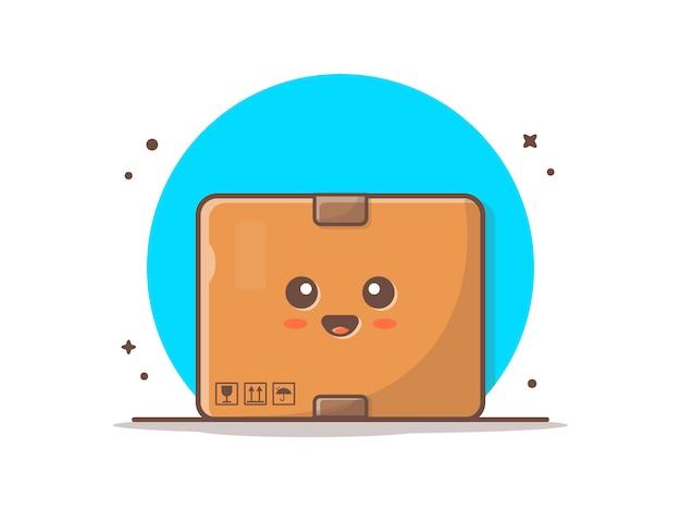 Illustrazione sveglia dell'icona della mascotte della scatola