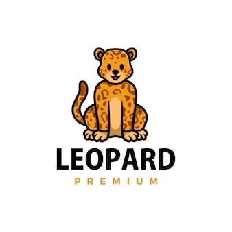 Illustrazione sveglia dell'icona di logo del fumetto del leopardo del ghepardo