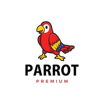 Illustrazione sveglia dell'icona di logo del fumetto del pappagallo