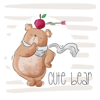 Illustrazione sveglia dell'orso del bambino per il bambino-vettore