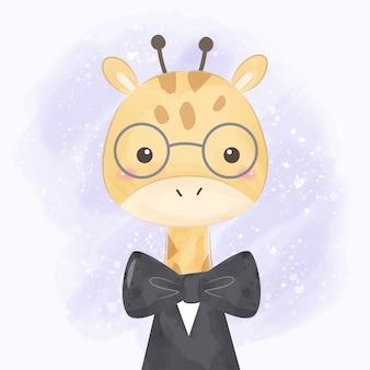 Illustrazione sveglia della giraffa per la decorazione dei bambini