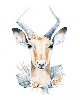 Illustrazione sveglia della savanna del ritratto dell'acquerello dell'antilope. animale della fauna selvatica africana