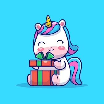 Illustrazione sveglia della scatola di apertura dell'unicorno. personaggio dei cartoni animati della mascotte unicorno. concetto animale isolato