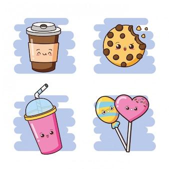 Illustrazione sveglia delle bevande, del biscotto e delle lecca-lecca degli alimenti a rapida preparazione di kawaii