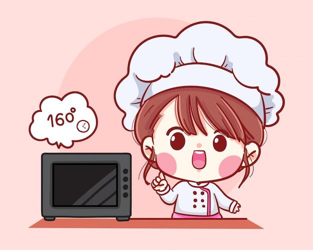 Illustrazione sveglia di arte del fumetto del panettiere della ragazza del cuoco unico del forno