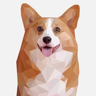 Illustrazione sveglia di lowpoly del cane