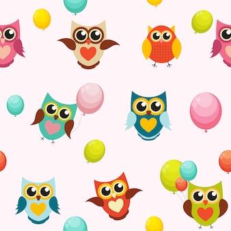 Illustrazione sveglia di owl seamless pattern background