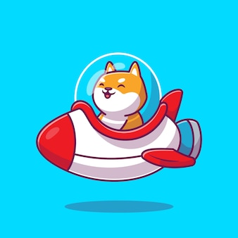 Illustrazione sveglia di shiba inu riding rocket cartoon icon. premio isolato concetto animale dell'icona del trasporto. stile cartone animato piatto