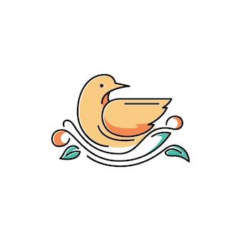 Illustrazione sveglia di simbolo sveglia dell'uccello sul nido