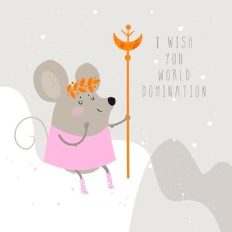 Illustrazione sveglia di un topo, un simbolo di 2020