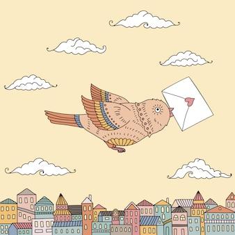Illustrazione sveglia di un uccello che sorvola la città con una lettera