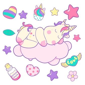 Illustrazione sveglia di unicorno con elementi doodle