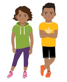 Illustrazione sveglia di vettore dei bambini dell'afroamericano. bambini neri in abiti sportivi isolati
