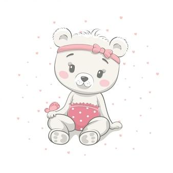 Illustrazione sveglia di vettore del fumetto dell'orso del bambino. stile di disegno a disposizione dell'illustrazione per la doccia di bambino. cartolina d'auguri, invito a una festa, stampa di t-shirt di abiti di moda.
