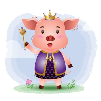 Illustrazione sveglia di vettore del maiale del re