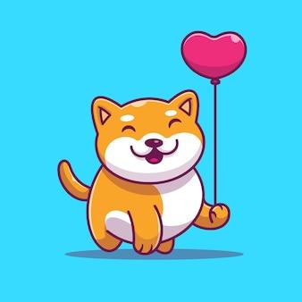 Illustrazione sveglia di vettore del pallone di amore della tenuta di shiba inu. cane e cuore