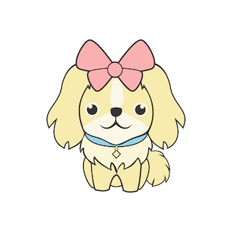 Illustrazione sveglia di vettore della mascotte del cane femminile