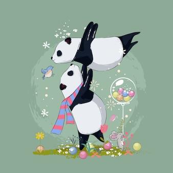 Illustrazione sveglia disegnata a mano dei migliori amici del panda per i bambini