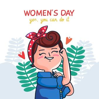 Illustrazione sveglia disegnata a mano per la festa della donna
