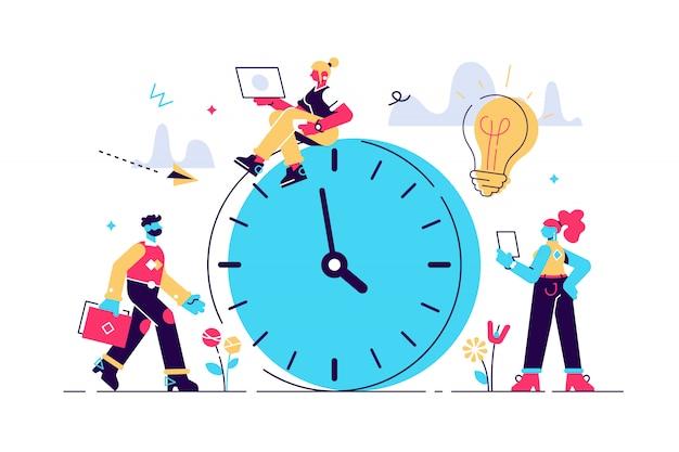Illustrazione, sveglia suona su sfondo bianco, concetto di gestione del tempo di lavoro