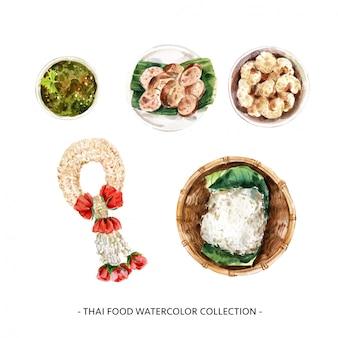 Illustrazione tailandese dell'alimento dell'acquerello isolata progettazione creativa.