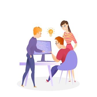 Illustrazione team work on writing codice di programmazione