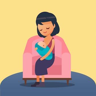 Illustrazione tecnica di allattamento al seno