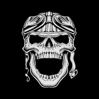 Illustrazione teschio moto d'epoca indossando casco retrò