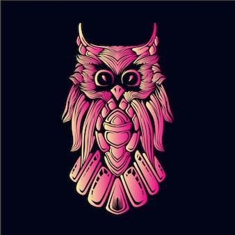 Illustrazione testa di gufo rosa