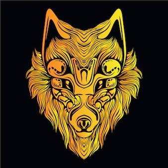 Illustrazione testa di lupo giallo