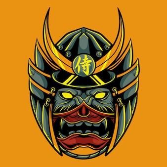 Illustrazione testa di samurai lupo