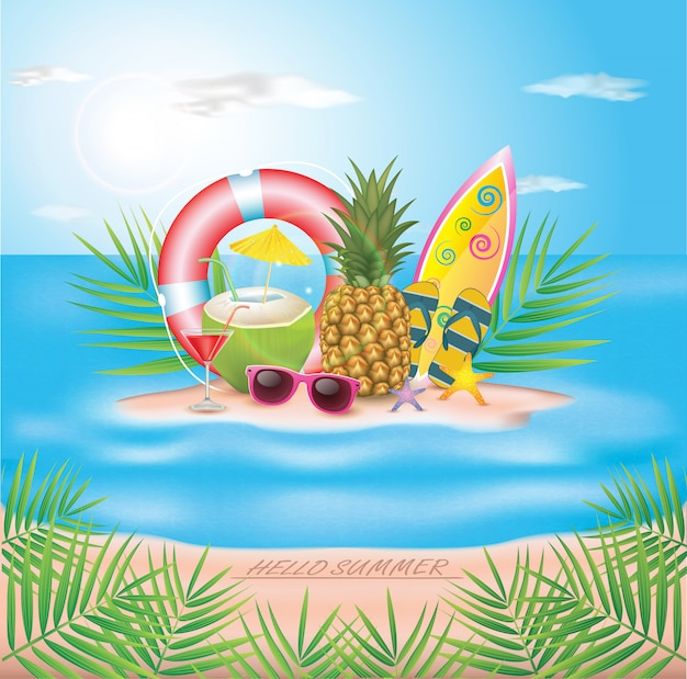 Illustrazione tipografica holiday summer holiday. piante tropicali, cocco, surf da spiaggia e cocktail. design.