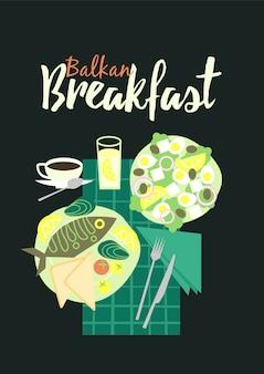 Illustrazione tradizionale della colazione di cucina balcanica