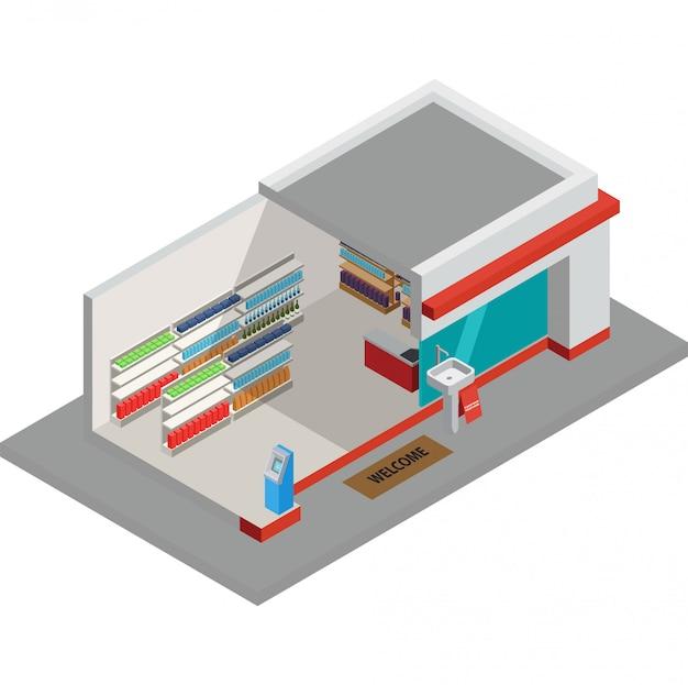 Illustrazione tranquilla del supermercato durante la nuova normalità