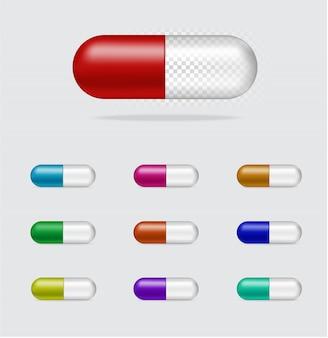 Illustrazione trasparente realistica di vettore del pannello della capsula della medicina della pillola. concetto farmaceutico, medico e sanitario.