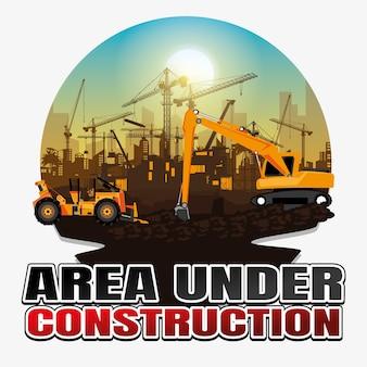 Illustrazione trattore che ara un'area per la costruzione