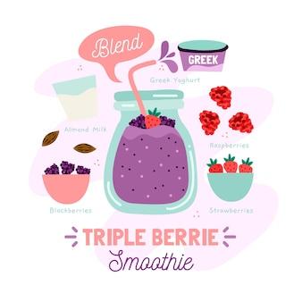 Illustrazione tripla sana di ricetta del frullato del berrie