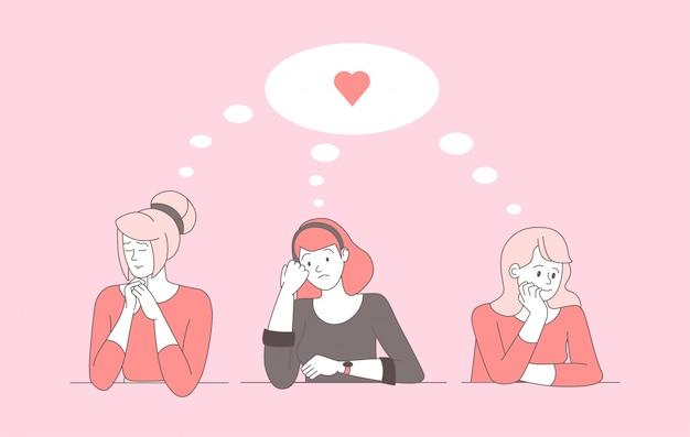Illustrazione triste del profilo del fumetto delle donne sole. sconvolte donne con il cuore spezzato che pensano ai personaggi lineari del ragazzo, amore non corrisposto. belle ragazze giovani innamorati