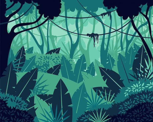 Illustrazione tropicale colorata del grafico del fondo della giungla della foresta pluviale