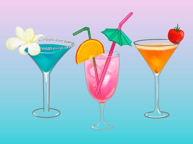 Illustrazione tropicale del cocktail del partito della spiaggia