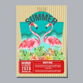 Illustrazione tropicale di vettore dell'acquerello del fenicottero del modello del manifesto di vacanza estiva