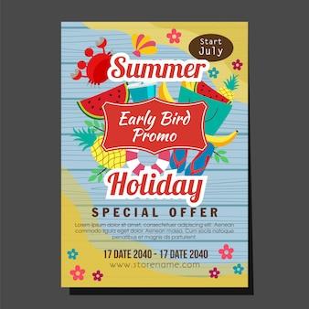 Illustrazione tropicale di vettore della frutta di stile piano di promo di legno dell'uccello di vacanza in anticipo di estate