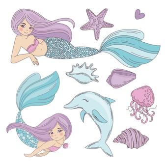 Illustrazione tropicale di vettore di viaggio del fumetto dell'oceano di mermaid