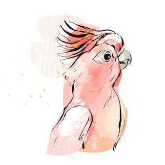 Illustrazione tropicale disegnata a mano del pappagallo del collage creativo astratto con struttura a mano libera nei colori di rosa pastello su fondo bianco sposi, compleanno, conservi la data, elemento insolito.
