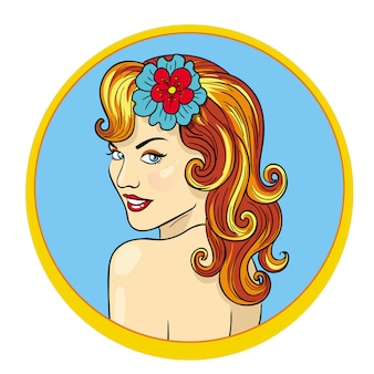 Illustrazione tropicana hawaiana della giovane donna dei capelli abbastanza rossi