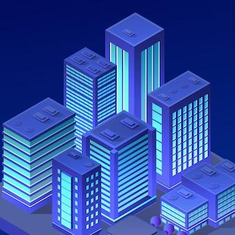 Illustrazione ultravioletta di notte al neon della città isometrica