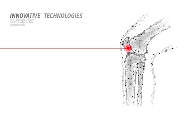Illustrazione umana di vettore del modello 3d dell'articolazione del ginocchio. la tecnologia del futuro a basso poli design cura il trattamento del dolore.