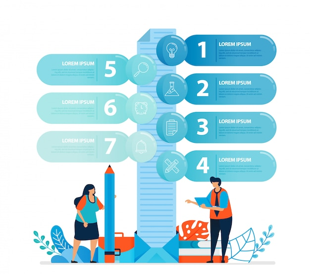 Illustrazione umana e design infografico per opzioni di business, passaggi di apprendimento, processi educativi.